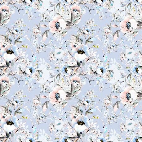Dzianina dresowa pętelka nadruk cyfrowy wzór Mroźne kwiaty (1)