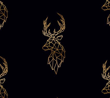 Dzianina dresowa pętelka nadruk cyfrowy wzór Jeleń na czarnym (1)