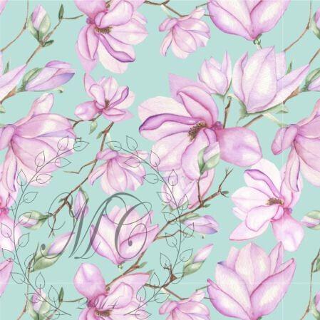 Dzianina dresowa pętelka nadruk cyfrowy wzór Magnolia (1)